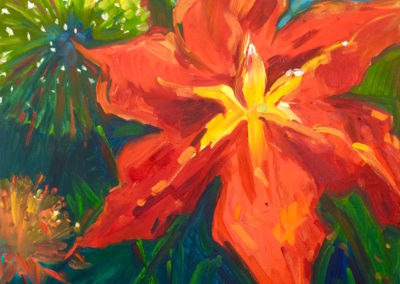 Margie Moss Impressionist Paintings Daylily & Allium