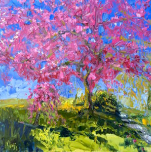 Margie Moss Impressionist Paintings Pink Tree