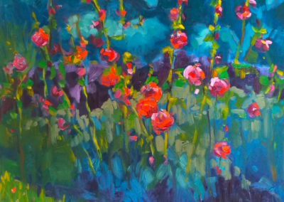 Margie Moss Impressionist Paintings Hollyhocks Amsterdam