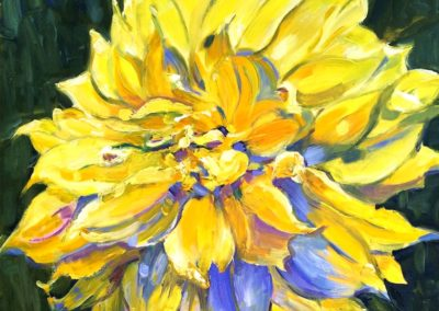 Margie Moss Impressionist Paintings Yellow Dahlia