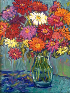Margie Moss Impressionist Paintings Bouquet Zinnias