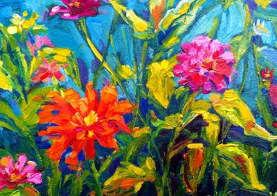 Margie Moss Impressionist Paintings Zinnia Garden