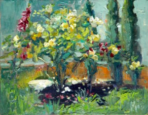 Margie Moss Impressionist Paintings Yellow Roses