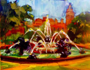 Margie Moss Impressionist Paintings Nichols Fountain Kansas City