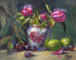 Margie Moss Impressionist Reproductions Pink Peonies Limes