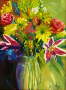 Margie Moss Impressionist Reproductions Pink Stargazers Yellow Daisies