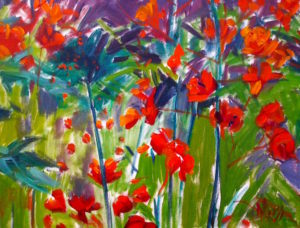 Margie Moss Impressionist Paintings Meadow of Flowers