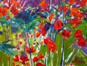 Margie Moss Impressionist Paintings Meadow of Flowers