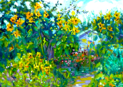Margie Moss Impressionist Paintings Sunflowers