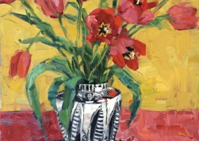 Tulips in Sgraffito Vase