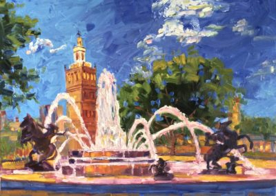 Margie Moss Impressionist Paintings Nichols Fountain Kansas City Breast Cancer Awareness