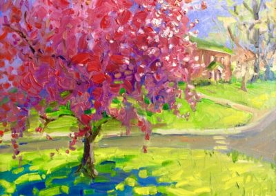 Margie Moss Impressionist Paintings Crabapple Tree
