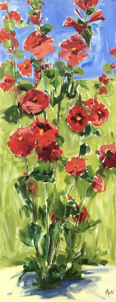Red Hollyhocks